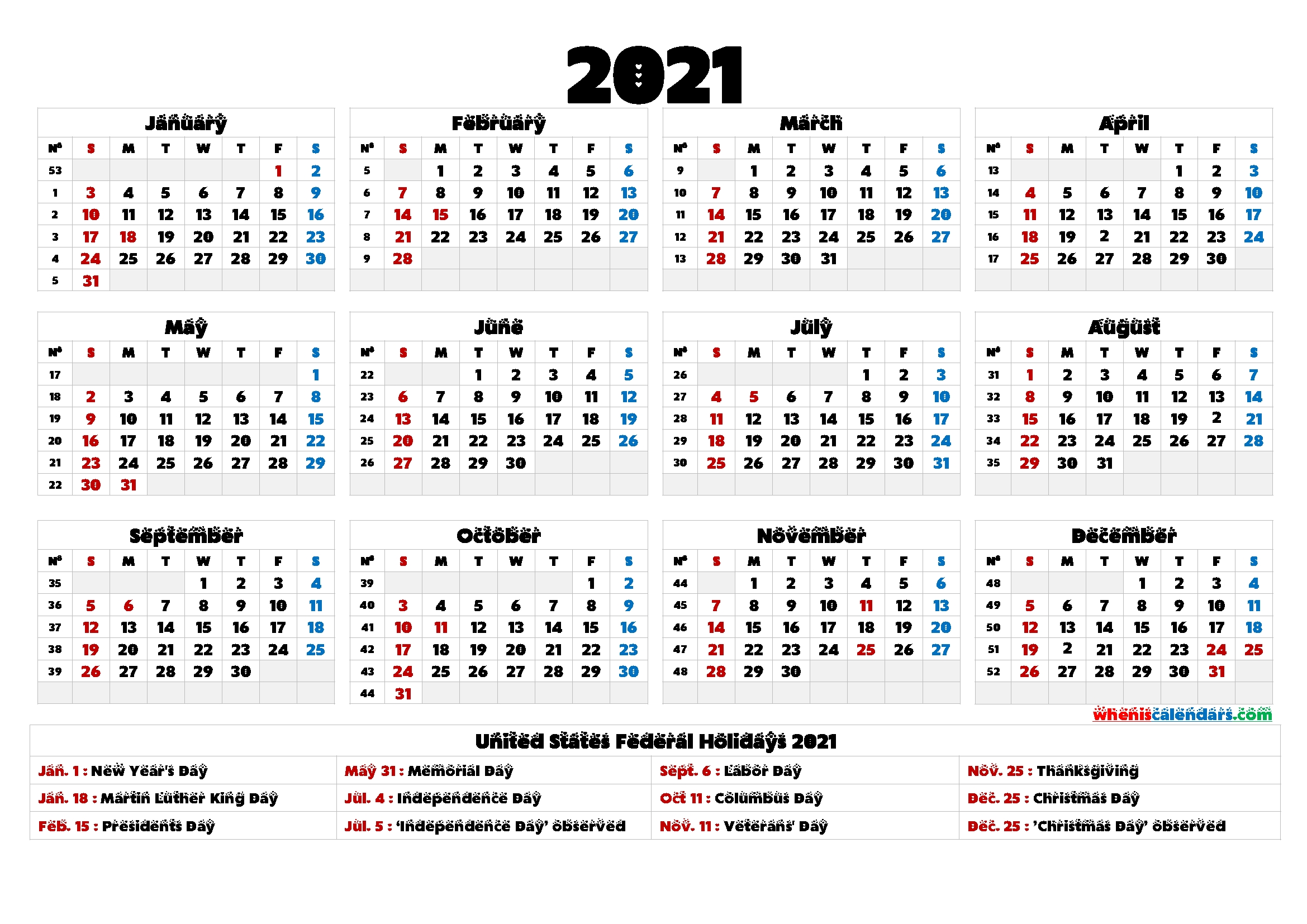 Printable 2021 Calendar One Page - 6 Templates - Free Printable 2020 Monthly Calendar With Holidays