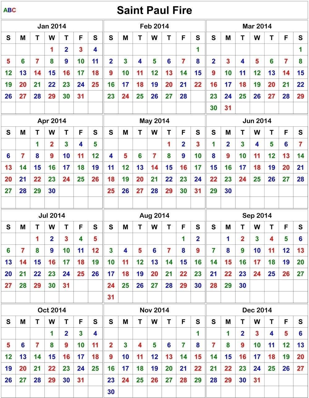 Printable Editable Fire Shift Calendar :-Free Calendar Template