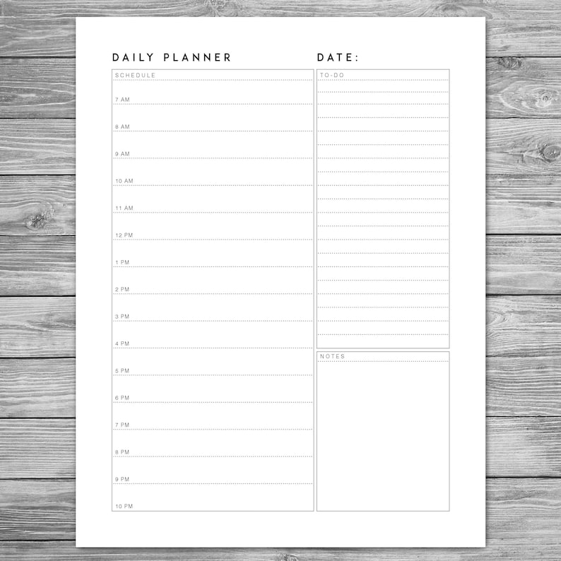 Printable Minimalist Daily Planner Daily Schedule Daily | Etsy