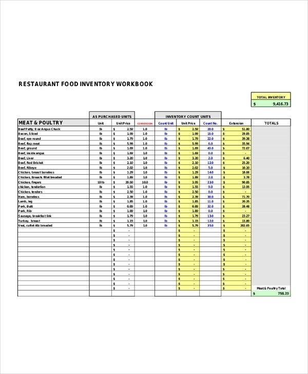 Restaurant Inventory List Templates - 5+ Free Word, Pdf Format Download! | Free & Premium Templates