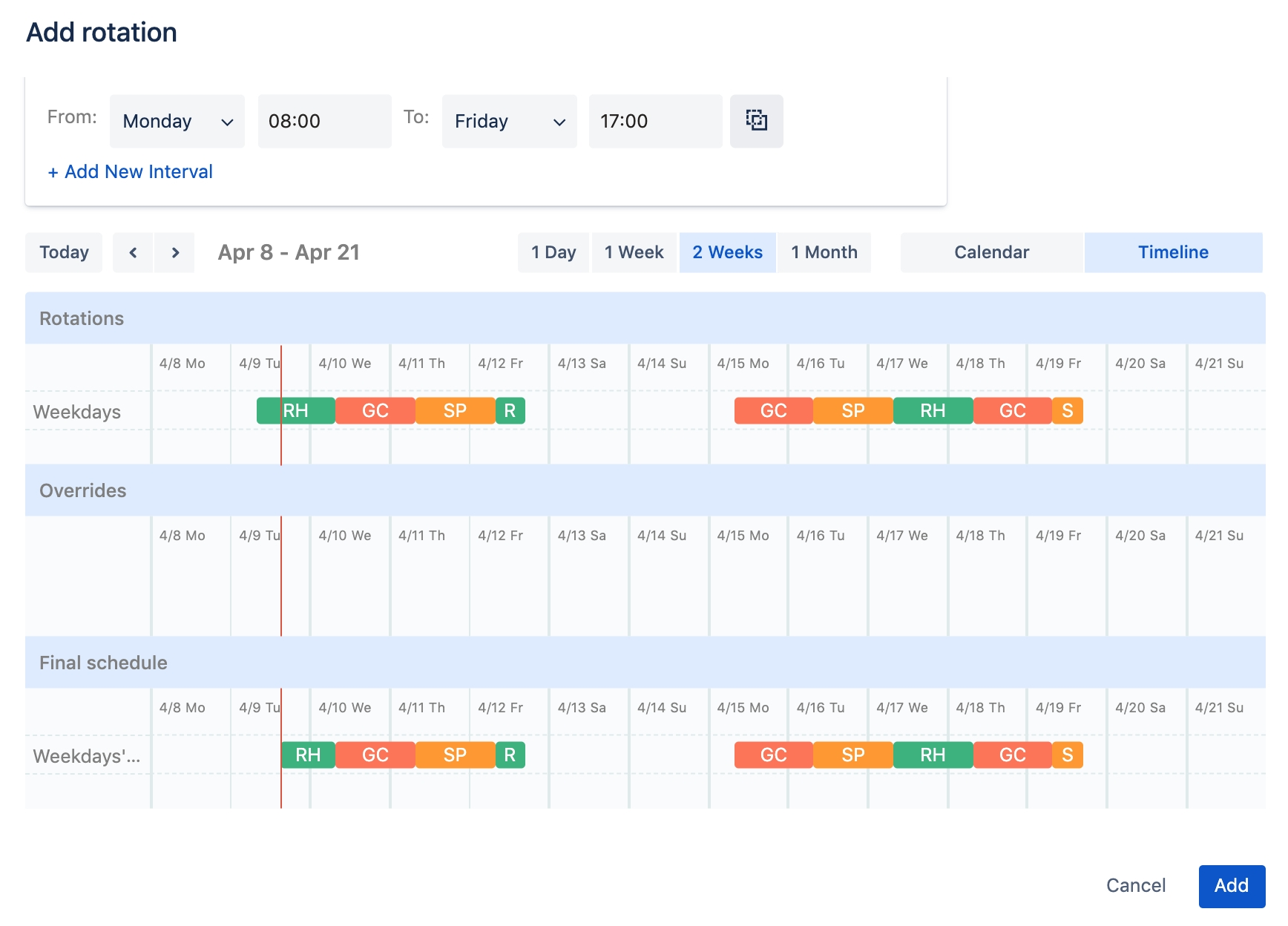 Rotational On Call Calendar Example :-Free Calendar Template