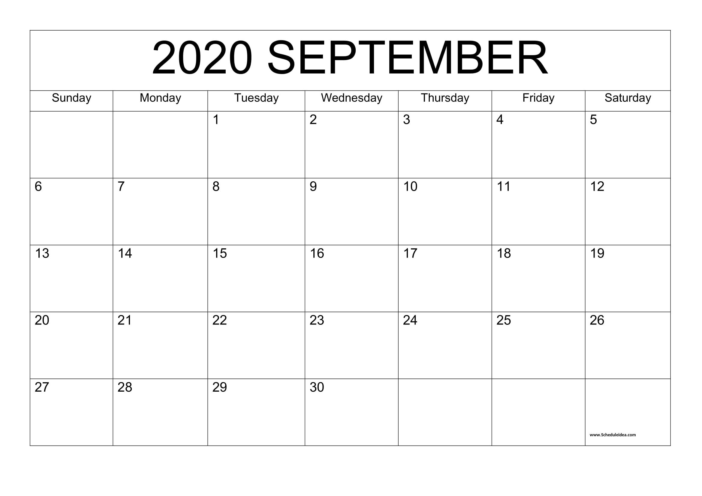 September 2020 Printable Calendar - Editable Templates