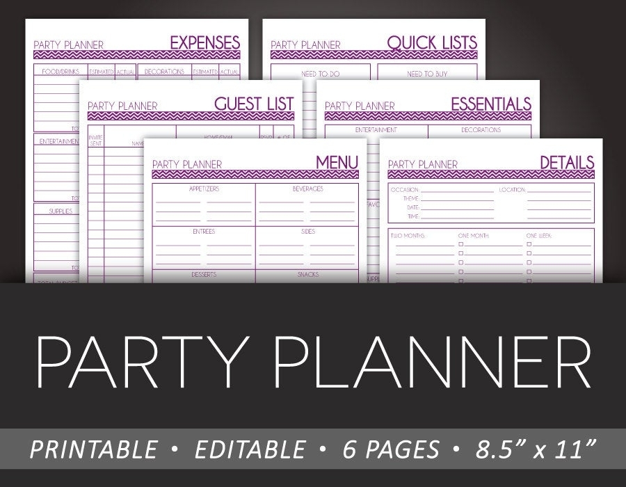 Simple Party Planner Printable 8.5 X 11 Editable Pdf Diy