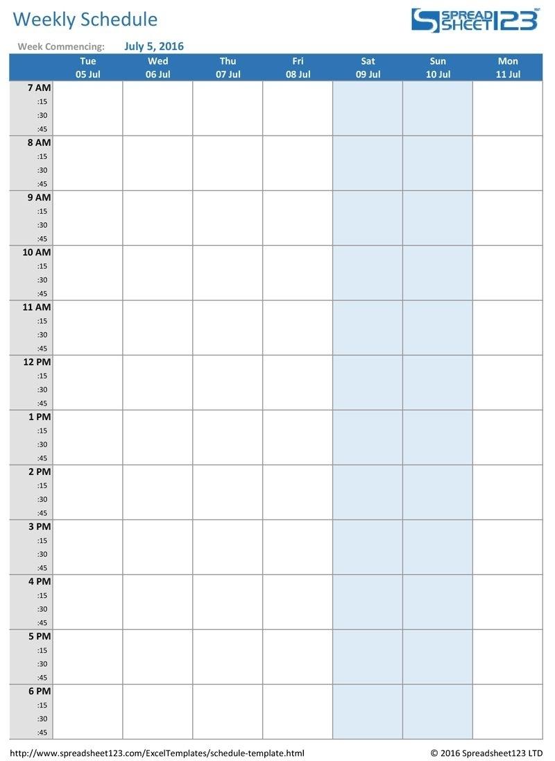 Week Calendar Hour Slots   Calendar Printables Free Templates