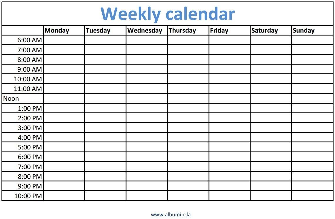 Weekly Calendars With Times Printable   Calendars 2018 Kalendar 2018 Calendario 2018