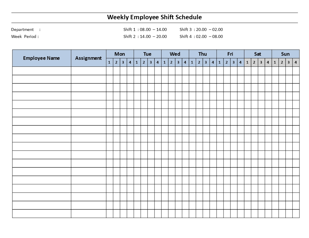 Weekly Employee Shift Schedulemon To Sun 4 Shifts   Templates At Allbusinesstemplates